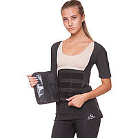 Футболка для похудения женская из композитной ткани с быстрым нагревом из серебряного волокна ST-2145 (M-3XL-44-54, черный) Код ST-2145