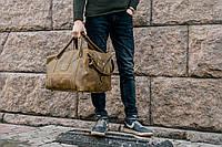 Дорожная зеленая сумка, Кожаная спортивная сумка оливкового цвета, фото 1