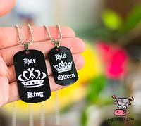 """Кулоны парные для влюбленных Her King. His Queen Корона"""". Цена за 1 набор"""