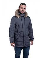 Мужская зимняя куртка-парка (мужской пуховик) Riccardo B5 Серый Мемори