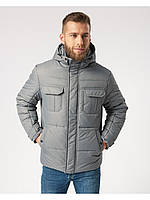 Мужская зимняя куртка-парка (мужской пуховик) Riccardo B4 Светло - серый