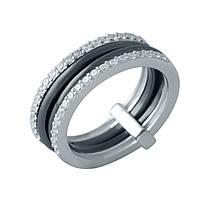 Серебряное кольцо GrayWhite с керамикой (1998076) 18 размер