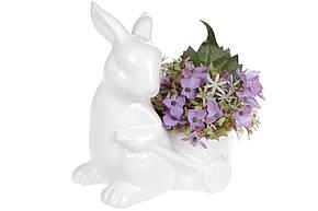 Фігурка декоративна-кашпо Кролик з візком 16см (2 шт) колір - білий, 739-715, фото 2