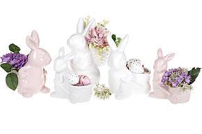 Декоративная фигурка-кашпо Кролик с тележкой 16см (2 шт),  цвет - розовый, 739-717, фото 2