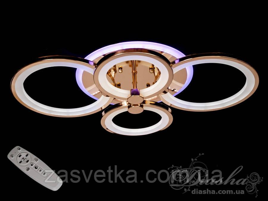 Потолочная люстра с диммером и LED подсветкой, цвет золото, 100W 8022/4G LED 3color dimmer