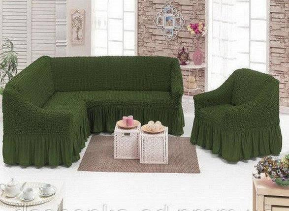 Чехол с юбкой на угловой диван и кресло Зеленый Evibu Турция 50090, фото 2
