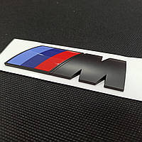 Эмблема наклейка на авто BMW M power black матовая 74мм