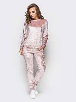 Спортивный костюм женский велюровый мраморный с карманами модный и стильный