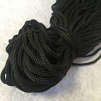Шнур 5мм текстильный полиамидный, черный (100м) (657-Л-0609)