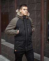 Куртка Парка зимняя мужская 'Seniora udacha' (черная с хаки)
