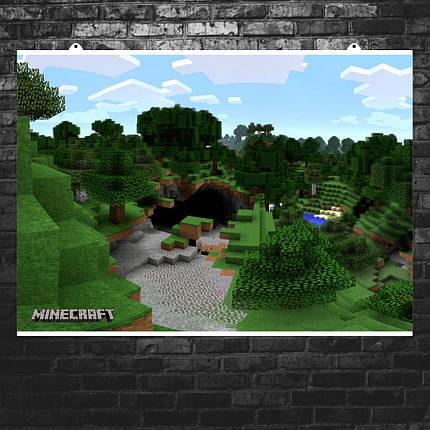 "Постер ""Minecraft. Вход в пещеру"". Майнкрафт. Размер 60x42см (A2). Глянцевая бумага, фото 2"