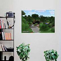 "Постер ""Minecraft. Вход в пещеру"". Майнкрафт. Размер 60x42см (A2). Глянцевая бумага, фото 3"