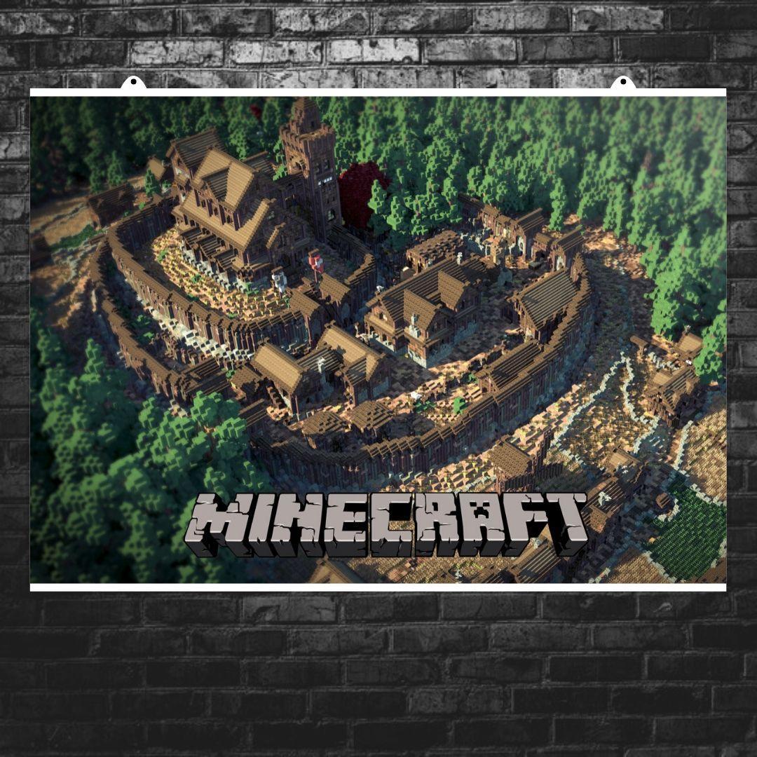 """Постер """"Minecraft. город с замком"""". Майнкрафт. Размер 60x42см (A2). Глянцевая бумага"""
