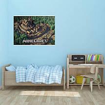 "Постер ""Minecraft. город с замком"". Майнкрафт. Размер 60x42см (A2). Глянцевая бумага, фото 2"