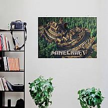 "Постер ""Minecraft. город с замком"". Майнкрафт. Размер 60x42см (A2). Глянцевая бумага, фото 3"