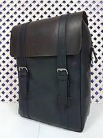 Рюкзак городской натуральная кожа, Crazy Horse черная с коричневым клапаном 1607