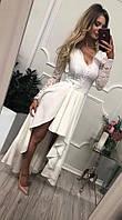 Платье женское Лиана  белое вечернее ассиметричное с гипюровым рукавом