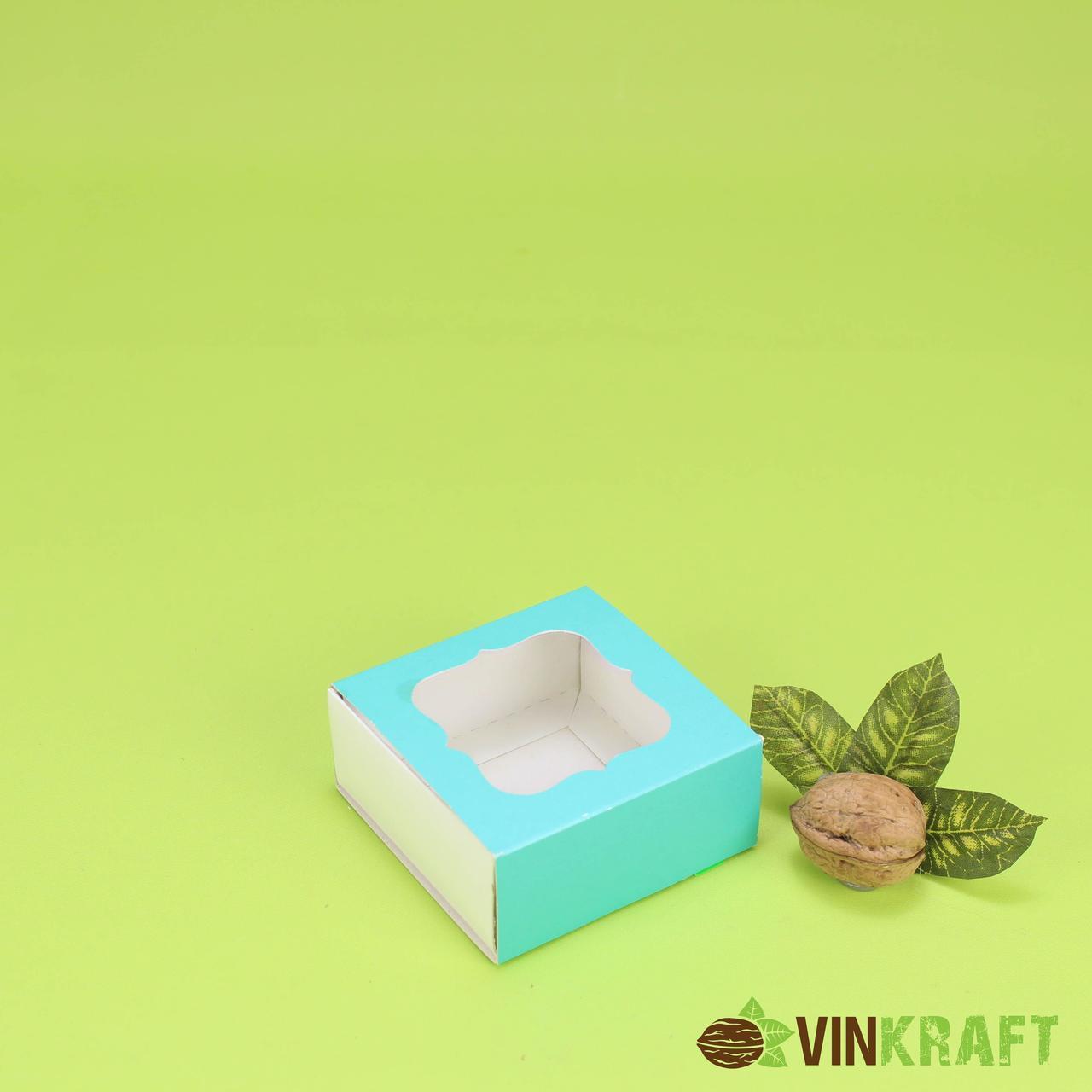 Коробка 80*80*35 для пряника з вікном, бірюзова