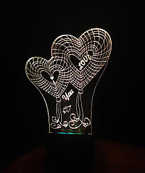 3d-светильник Сердца I love you, 3д-ночник, несколько подсветок (на батарейке)