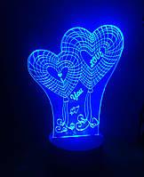 3d-светильник Сердца I love you, 3д-ночник, несколько подсветок (на пульте)
