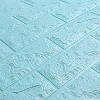 3д панель стеновой декоративный Бирюзовый Кирпич (самоклеющиеся 3d панели для стен) 700x770x7 мм, фото 1