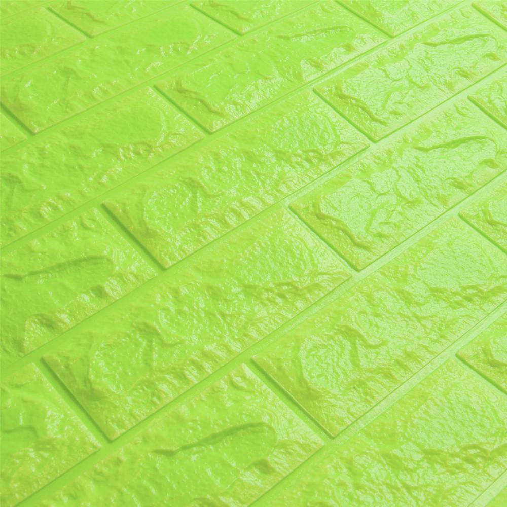 3д панель стеновой декоративный Зеленый Кирпич (самоклеющиеся 3d панели для стен оригинал) 700x770x7 мм