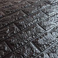 3д панель стеновой декоративный Черный Кирпич (самоклеющиеся 3d панели для стен оригинал) 700x770x7 мм