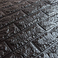 3д панель стіновий декоративний Чорний Цегла (самоклеючі 3d панелі для стін оригінал) 700x770x7 мм
