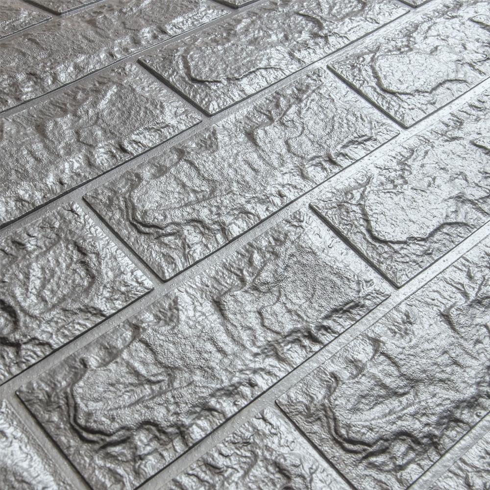 3д панель стеновой декоративный Серебро Кирпич (самоклеющиеся 3d панели для стен оригинал) 700x770x5 мм