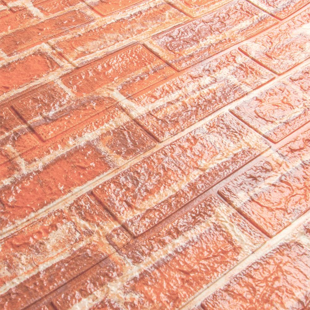 3д панель стеновой декоративный Рыжий Кирпич (самоклеющиеся 3d панели для стен оригинал) 700x770x7 мм