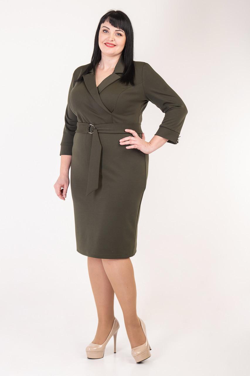 Трикотажное платье в деловом стиле 50-56 р-р