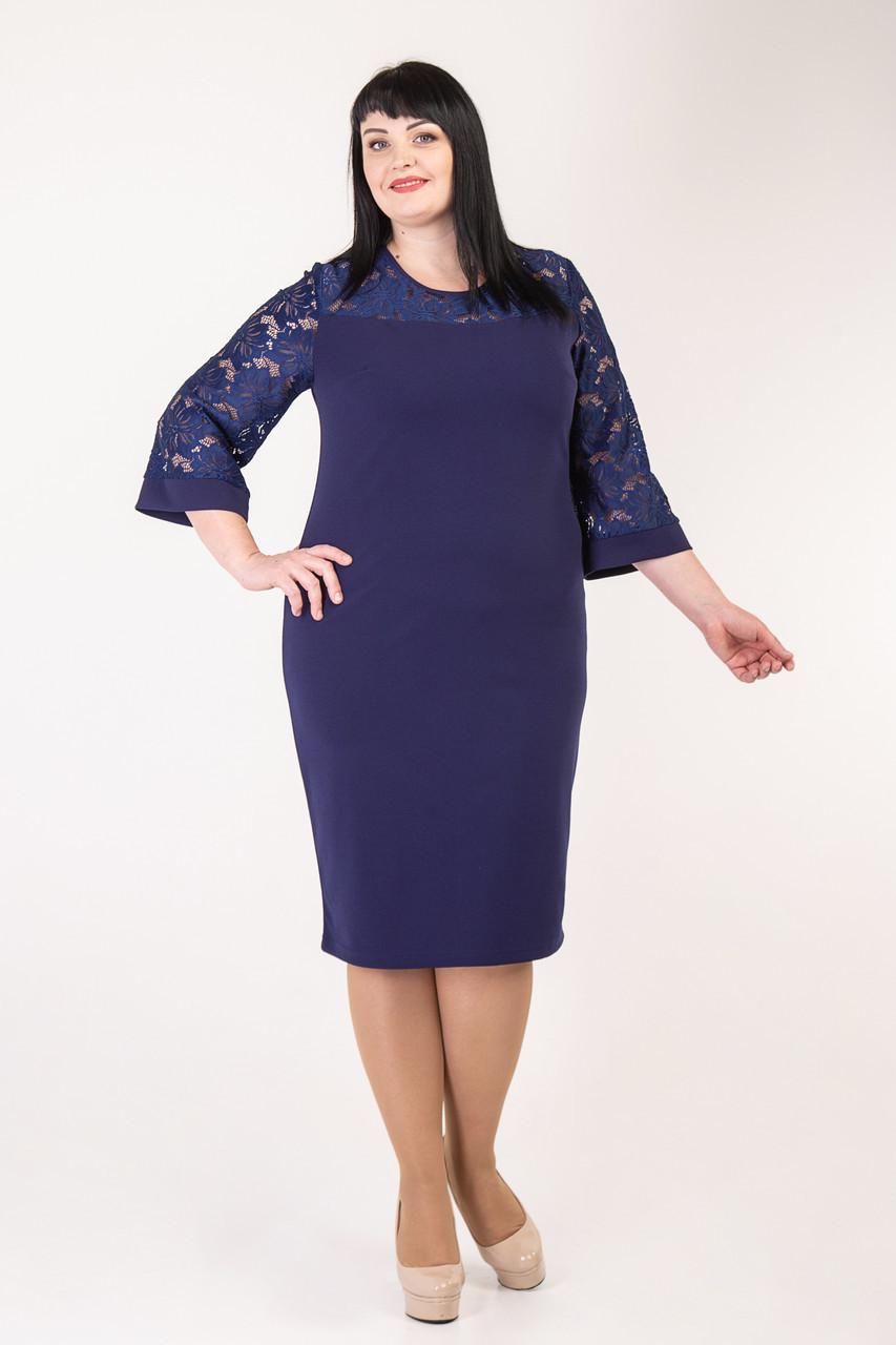 Праздничное платье темо-синего цвета  52-58 р-р