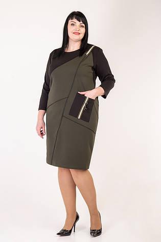 Женское трикотажное комбинированное платье 58-64 р-р, фото 2
