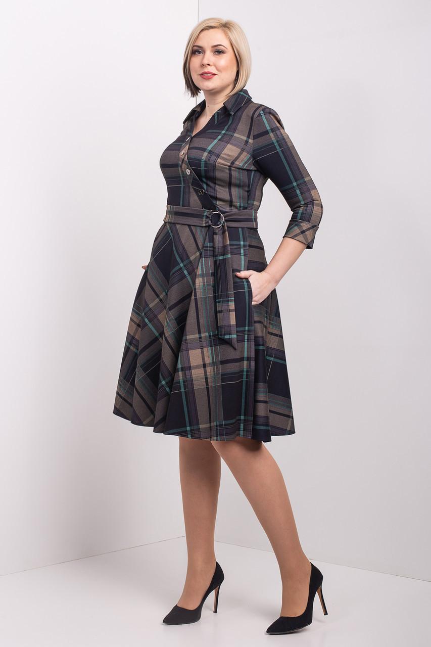 Красивое расклешенное платье в клетку 50-56 р-р