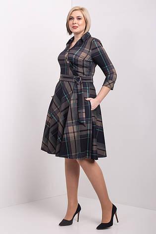 Красивое расклешенное платье в клетку 50-56 р-р, фото 2