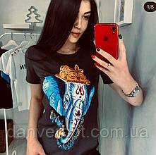 Футболка женская стильная размер универсальный 42-46, купить оптом со склада 7 км Одесса