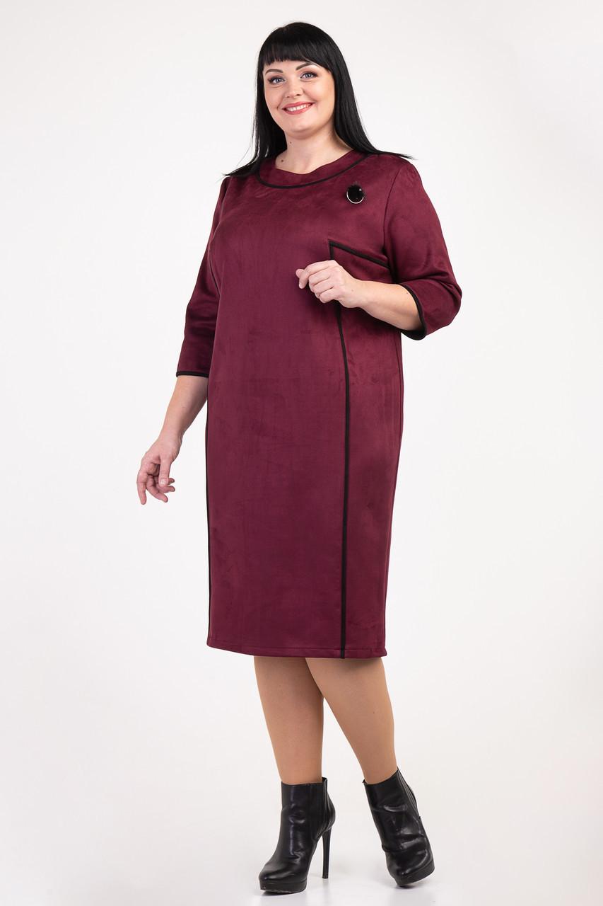 Замшевое платье с рельефами