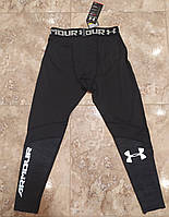 Лосины мужские для тренировок в стиле Under Armour черные/легинсы мужские/брюки компресионные/тайтсы