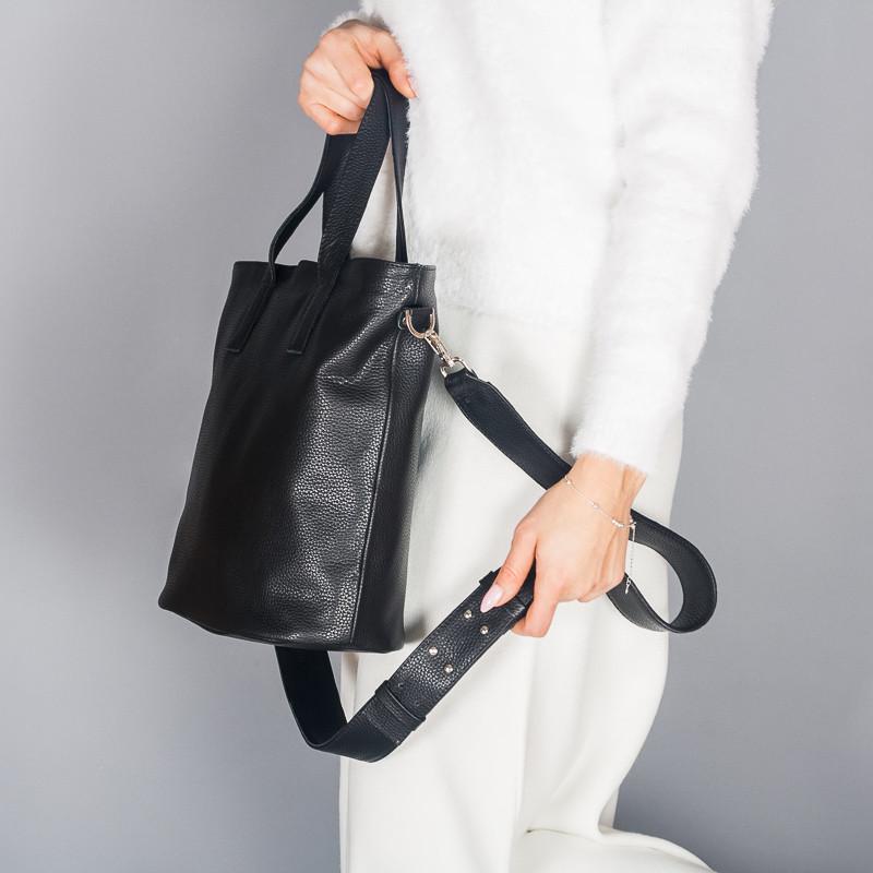 Вместительная кожаная женская кожаная сумка шопер, с двумя ручками, на молнии, цвет любой на выбор