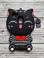 Объемный 3D силиконовый чехол для Xiaomi Redmi 3 Кошка черная в полоску