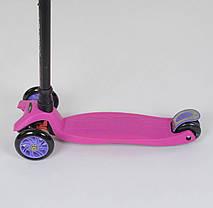 Самокат 466-113 / А 24437 Best Scooter MAXI (1) РОЗОВЫЙ, пластмассовый, 4 колеса PU, СВЕТ, фото 2