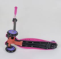 Самокат 466-113 / А 24437 Best Scooter MAXI (1) РОЗОВЫЙ, пластмассовый, 4 колеса PU, СВЕТ, фото 3