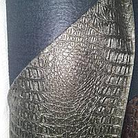 Кожзаменитель на войлочной основе мебельный для мягкой мебели ширина 140 см сублимация крокодил темно-зеленый, фото 1