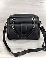 Маленькая стильная женская сумка Хлоя черного цвета