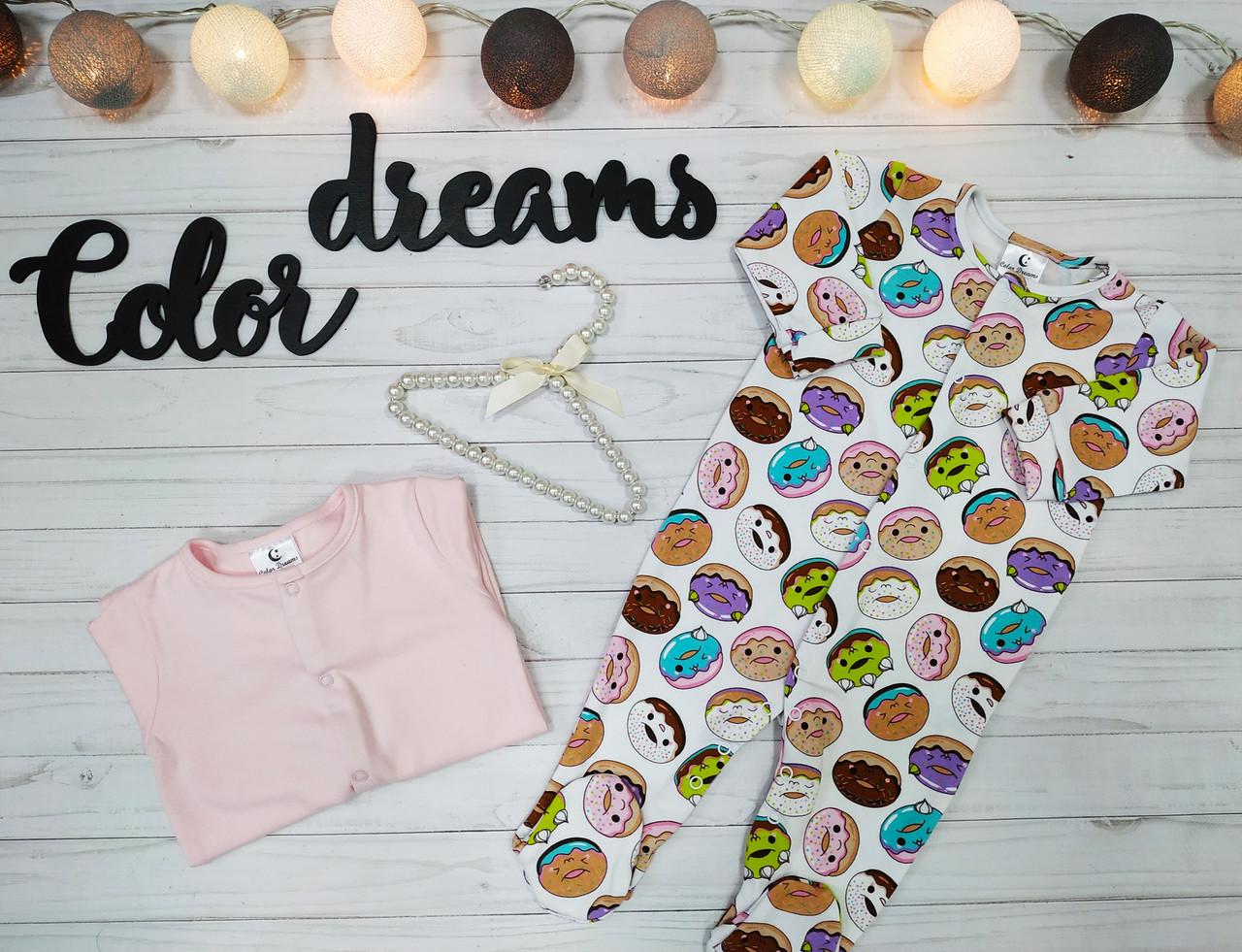 Детский комплект из 2 единиц Человечков,слипов  Пончикина белом+розовый