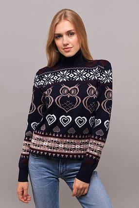 """Оригинальный женский свитер """"Вязка+полушерсть"""" 46, 48, 50 размер батал, фото 2"""