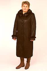 Пальто из спандекса под замшу с лазерной обработкой с мехом норки ЛЕДИ ШАРМ 15105  56  коричневый