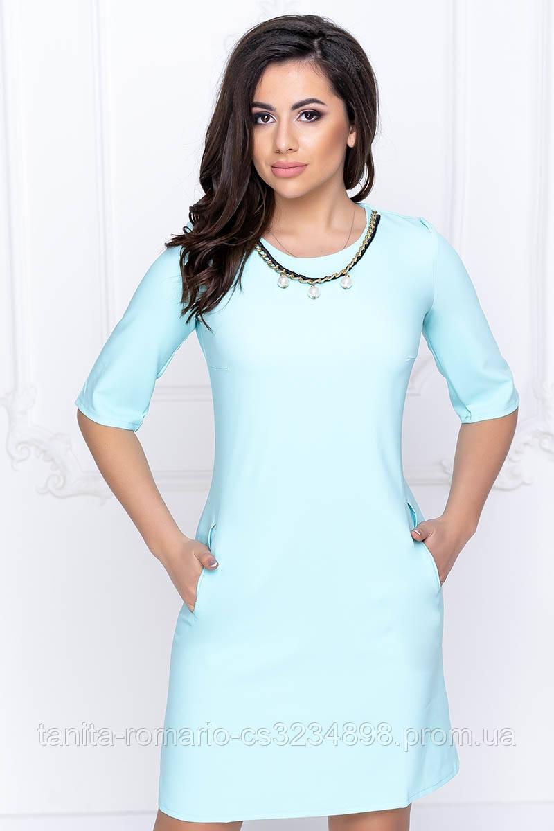Повседневное платье четверть рукава мятного цвета