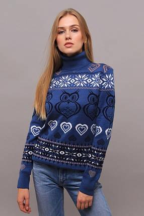 """Оригинальный женский свитер """"Вязка+полушерсть"""" 48, 50 размер батал, фото 2"""