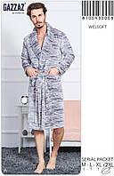 Мужской халат с карманами серый
